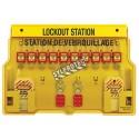 Station de verrouillage 10 cadenas, 2 moraillons et 24 étiquettes danger ne pas opérer (bilingue).