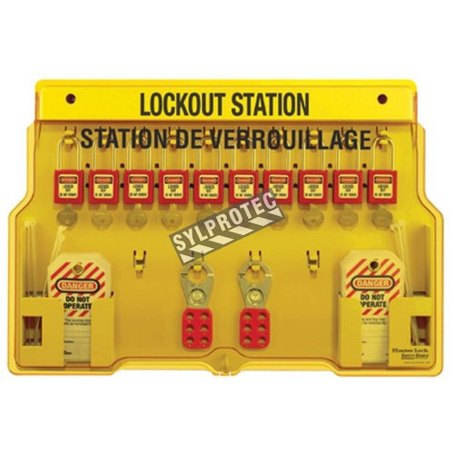 Lockout Station 10 padlocks, 2 hasps and 24 hazard labels do not operate (bilingual).