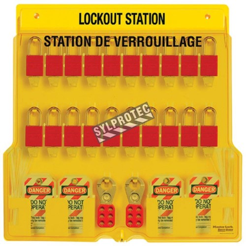 Station de verrouillage avec cadenas stratifiés 20 cadenas, 4 moraillons et 48 étiquettes danger ne pas opérer (bilingue).