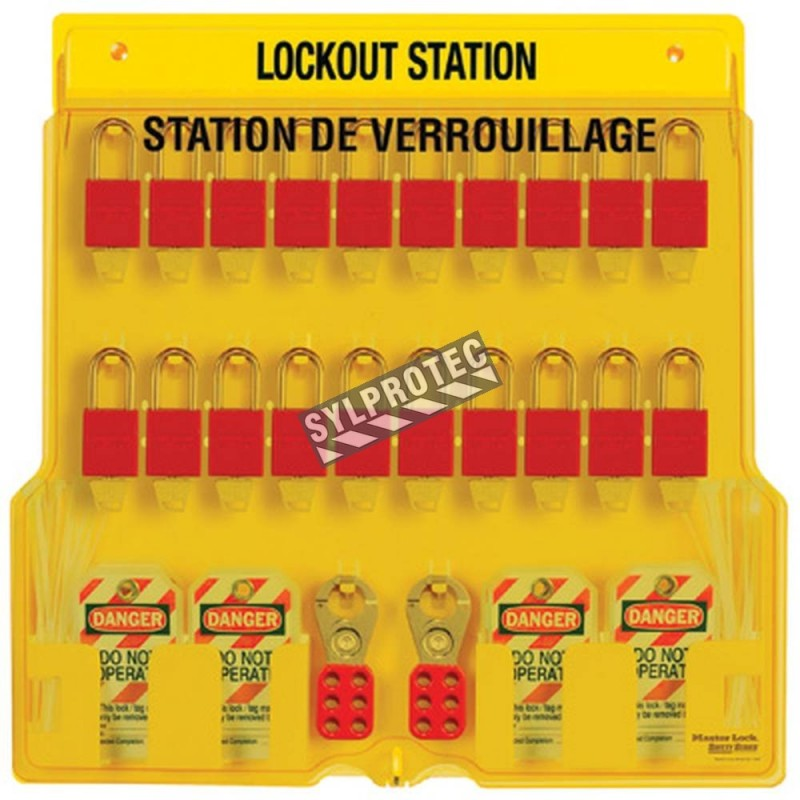 Lockout Station 20 padlocks, 4 hasps and 48 hazard labels do not operate (bilingual).