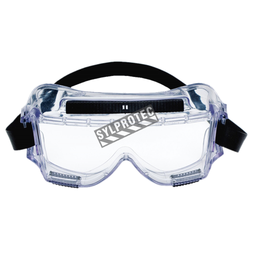 3M Centurion safety splash goggle 454 with anti-fog treated clear polycarbonate lenses. CSA approved for impact protection.