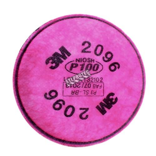 Filtre P100 contre les concentrations nuisibles de gaz acides. Homologué NIOSH. Vendu à la paire.