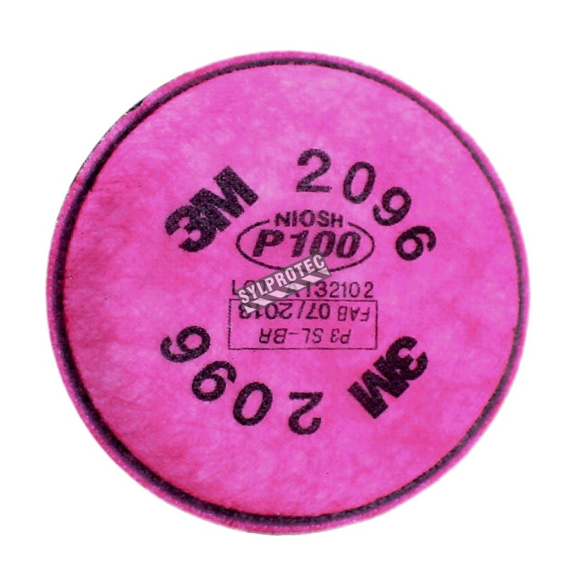 3M P100 filter with nuisance level acid gas relief. NIOSH  approved. Sold in pairs.