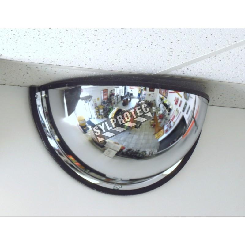 Miroir convexe en demi-dôme, en acrylique, pour vue à 180 degrés dans une intersection en T.