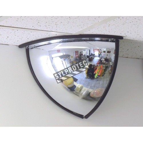 Miroir convexe en quart de dôme, en acrylique, pour vue à 90 degrés dans un coin.