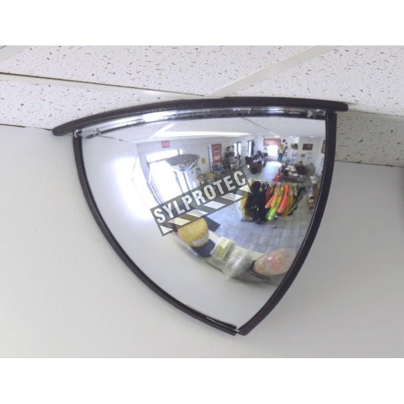 Miroir convexe quart de d me pour vue 90 degr s dans un for Miroir convexe