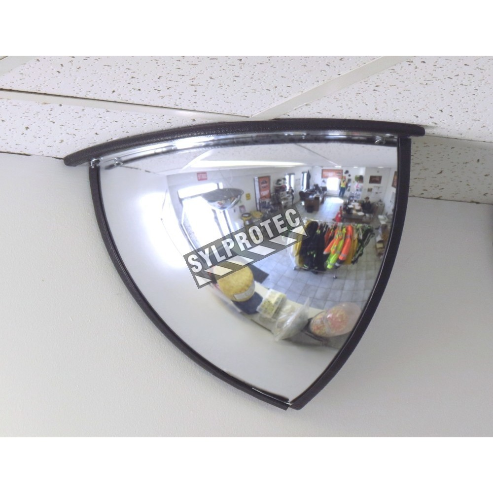 acrylic quarter dome convex mirror for 90 degree view in