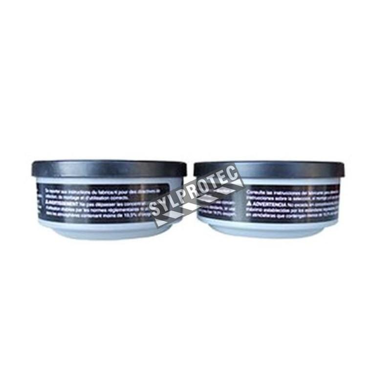 Cartouche contre vapeurs organiques pour masques de protection respiratoire séries 5400, 7600 & 7700 de North. Vendu à la paire.