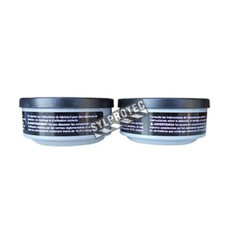 North approved organic vapours cartridge for half & full facepiece respirators series 5400, 7600 & 7700. Sold in pairs.