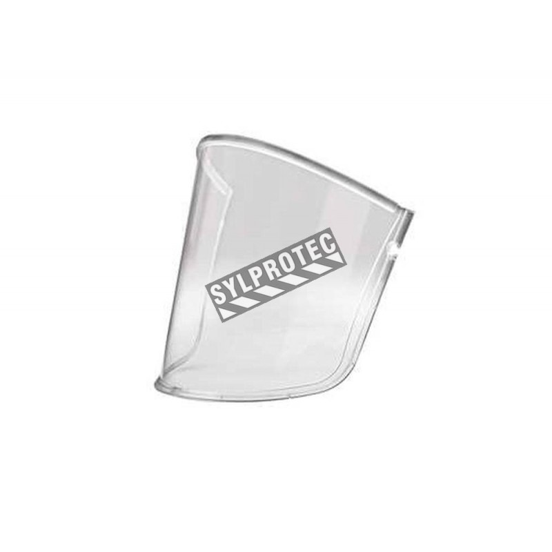 3M spare polycarbonate visor for protection from impacts and scratches on a RM206 facepiece with hard hat. 5 units/case