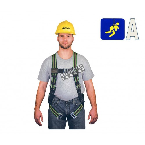 Miller Duraflex Ultra safety harness, size L-XL, with 1 back D-ring and friction buckles. CSA class A.