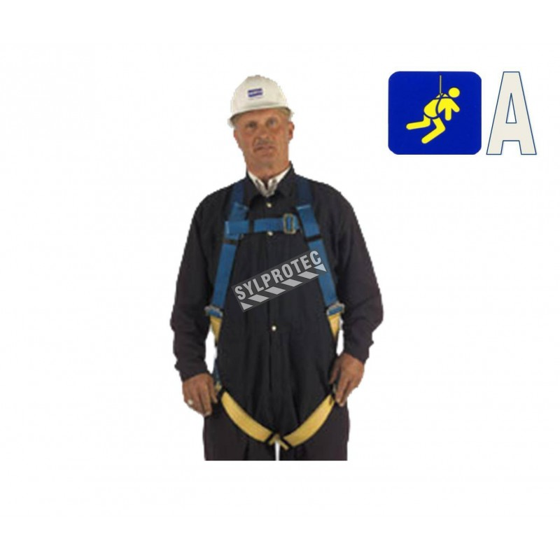 North basic safety harness, 1 back D-ring, mating buckles. CSA group A.