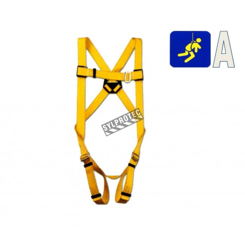 North Durabilt safety harness, 1 back D-ring, mating and tongue buckles. CSA group A.
