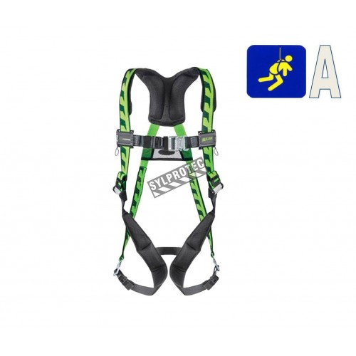 Miller AirCore™ CSA class A full body fall arrest harness equipped with 1 stand-up back D-Ring & Quick-Connect buckles