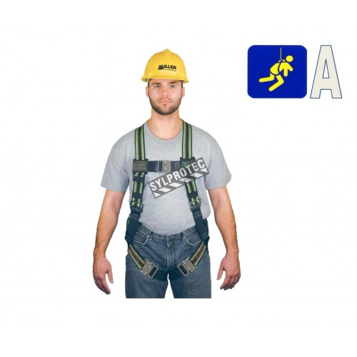 Miller Duraflex Ultra safety harness, size L-XL, with 1 back D-ring and Quick-Connect buckles. CSA class A.