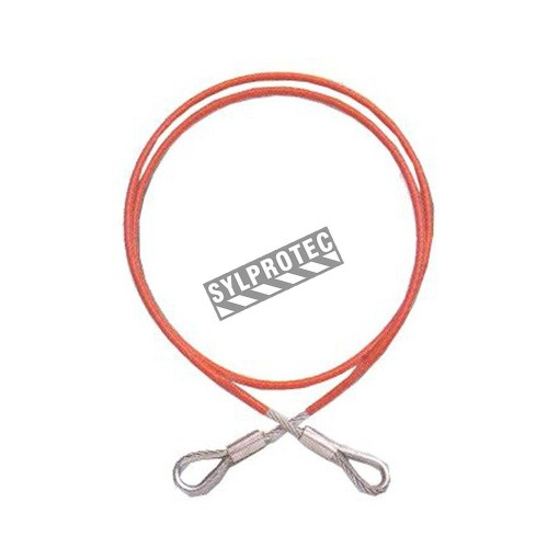North PVC coated galvanized steel cable sling for fall protection. Flexible anchorage connector with 2 swaged eyes.