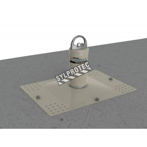 Miller concrete decking Fusion Roof steel Anchor Post for fall protection.  Concrete expansion bolt anchor kit included.