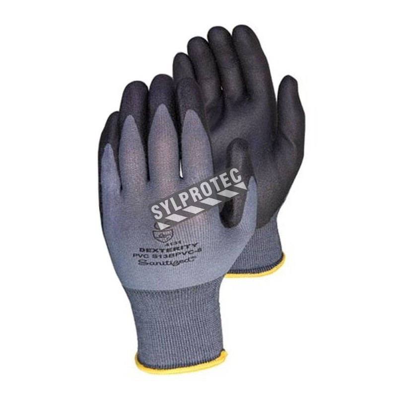 Dexterity® 13-gauge nylon knit gloves with PVC coating on palms and fingers. ASTM/ANSI abrasion level 2.