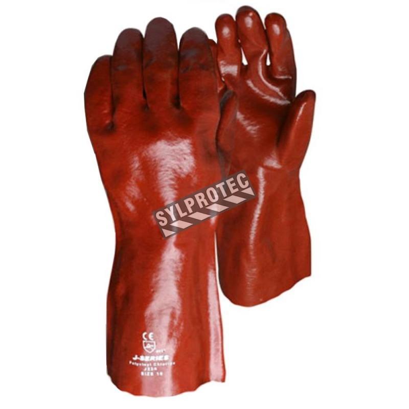 Gant Chemstop™ de coton enduit de PVC rouge d'une longueur de 12 po. Approuvé par l'ACIA. Taille unique large (9).