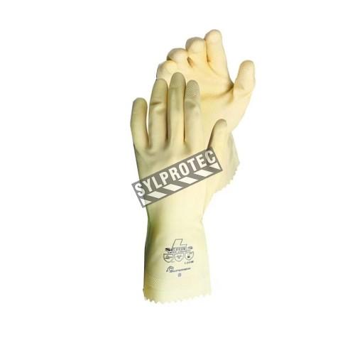 Gants de latex naturel chlorinés, texturés et non floqués d'une longueur de 12 po et d'une épaisseur de 18 mils.