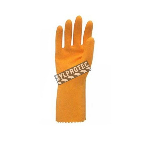 Natural orange rubber latex unsupported textured & flock-lined safety glove. 13 in long and 30 mils thick.