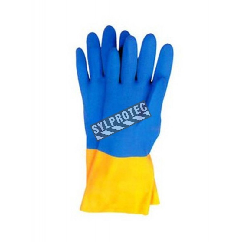 Neoprene coated natural latex safety glove, unsupported, textured & flock-lined. 12 in long and 30 mils thick.