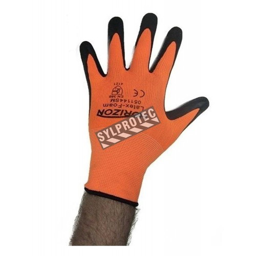 Horizon cost-effective 13-gauge nylon knit gloves with foam latex coating. Mechanical hazards level rating 2121.