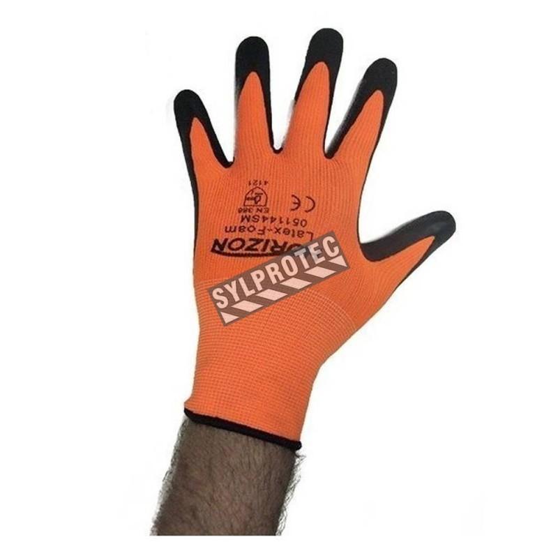 Horizon cost-effective 13-gauge nylon knit gloves with foam latex coating. Mechanical hazards level rating 2121.