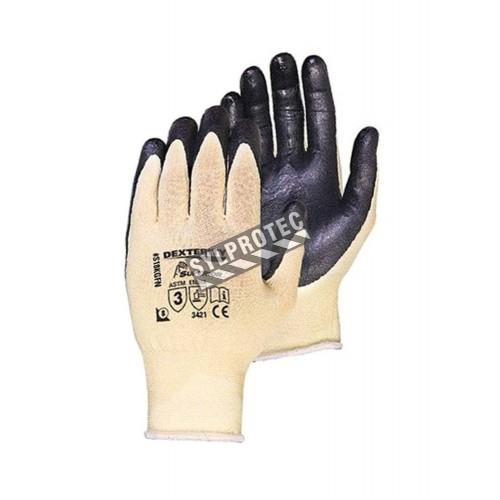 Gants anti-coupure A3 Dexterity compatibles avec les écrans tactiles, faits de Kevlar avec paume enduite de nitrile.
