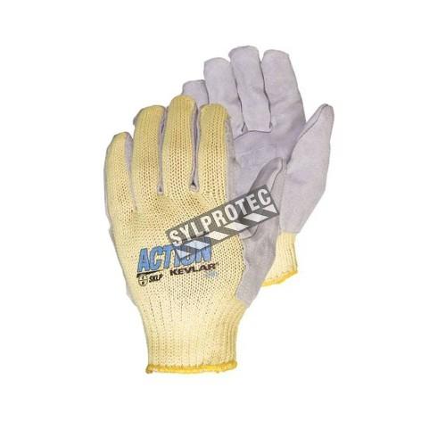Gants anti-coupure de niveau 4 Action™ en Kevlar®, fil d'acier & cuir fendu. Taille unique large (9). Vendu à la paire.