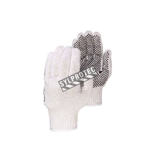 Gloves made of jersey with PVC dotted grip on one side, large, 12 pairs/pkg.