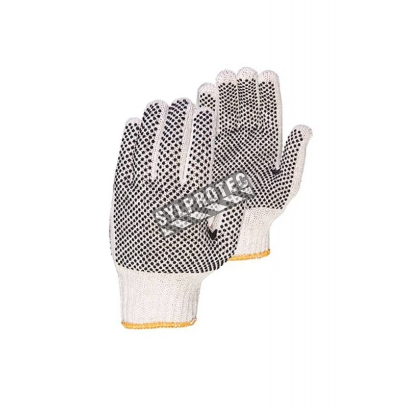 Cost-effective 7-gauge two side PVC dotted polycotton string knit gloves approved by the CFIA. Size: X-small (6) to X-large (10)