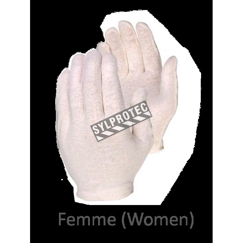 Gants d'inspection en coton d'épaisseur moyenne, couleur écru, grandeur pour femmes.