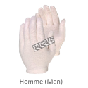Form-fitting one-size-fits-all unbleached polycotton-jersey knit inspector gloves for men approved by the CFIA. 12 pairs/pack.
