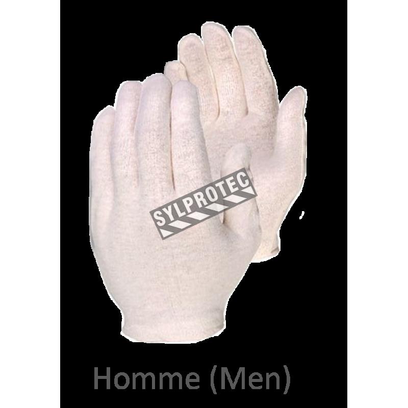 Gants d'inspection en coton d'épaisseur moyenne, couleur écru, grandeur pour hommes.