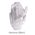 Form-fitting one-size-fits-all bleached polycotton-jersey knit inspector gloves for men approved by the CFIA. 12 pairs/pack.