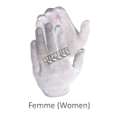 Form-fitting one-size-fits-all bleached polycotton-jersey knit inspector gloves for women approved by the CFIA. 12 pairs/pack.