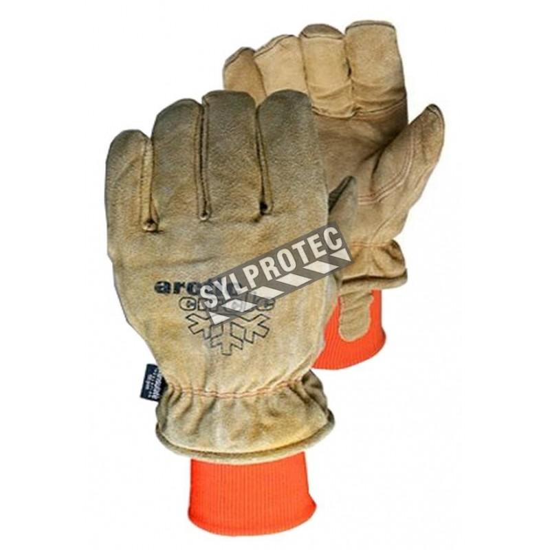 Brown split Leather winter glove , thinsulate insulation
