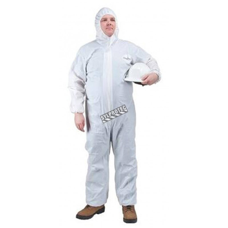 White disposable polypropylene coveralls with hood, large (25)