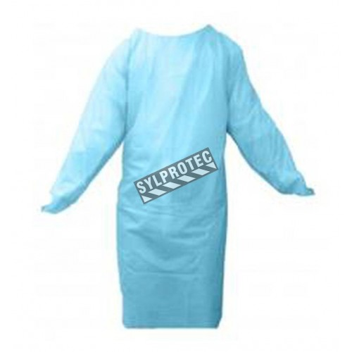 Blue CPE gown with thumb loops, pk / 50 unit