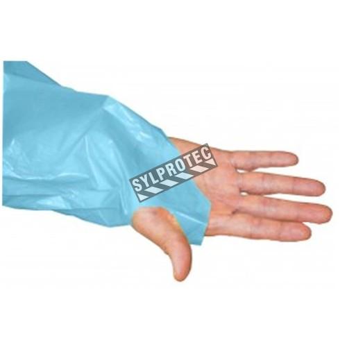 Tablier bleu avec manche et anneau au pouce, paquet de 50 unité