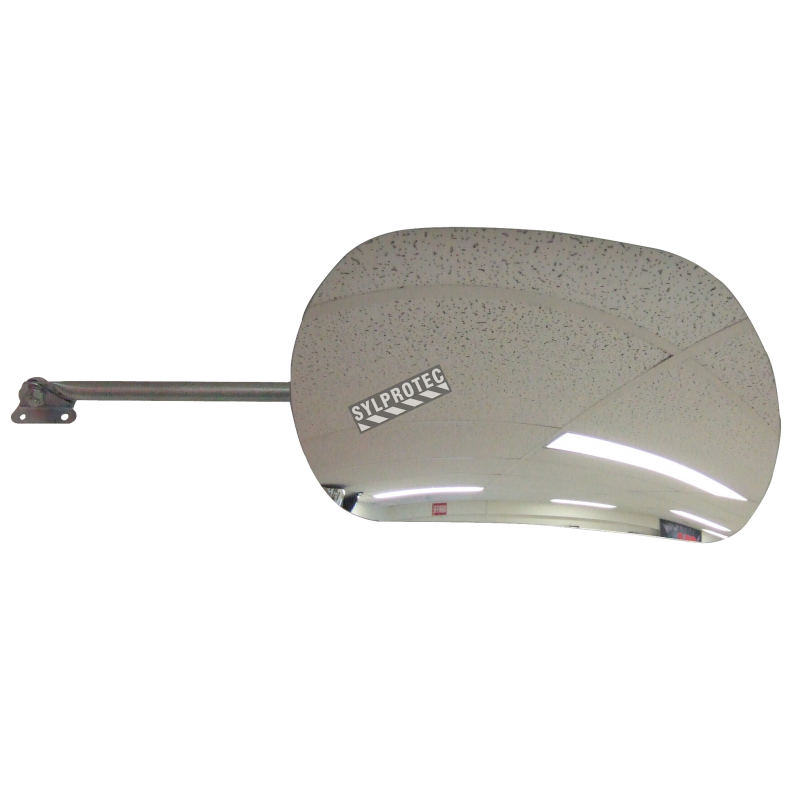 Acrylic rectangular convex mirror with adjustable arm, 160-degree field of view.