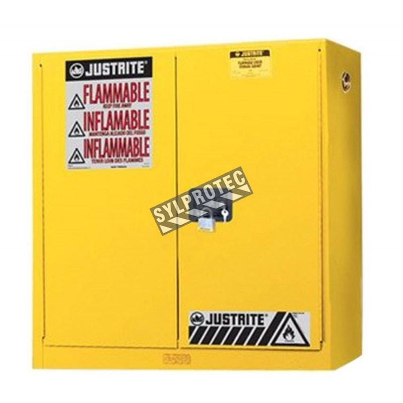 Wall-mounted flammable liquids storage cabinet, 20 US gallons (76 L), FM, NFPA and OSHA-approved.