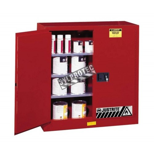 Safety storage cabinet for combustibles. Capacity 20 US gallons (76 L). FM listed, NFPA, OSHA and IFC compliant.