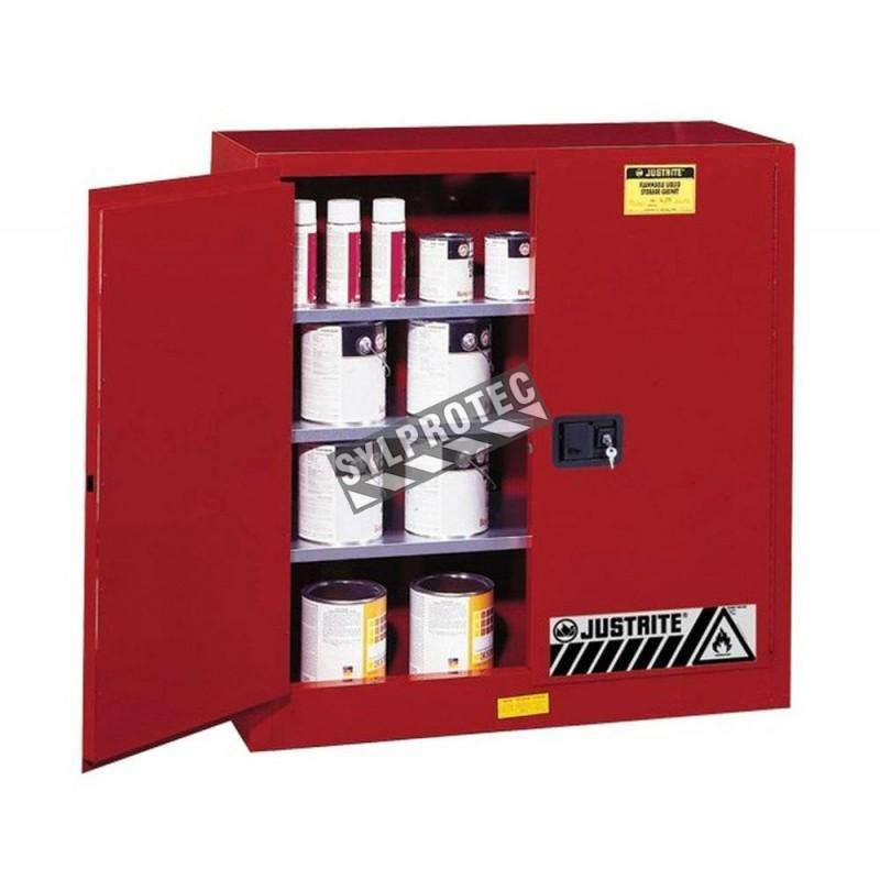 Armoire de 20 gallons (76 L) pour liquides combustibles, certifiée FM, NFPA, OSHA et IFC.