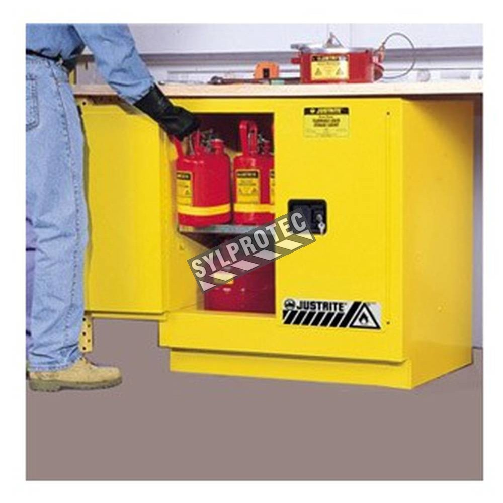 Under-counter flammable liquids cabinet, 22 gallons (83 L).