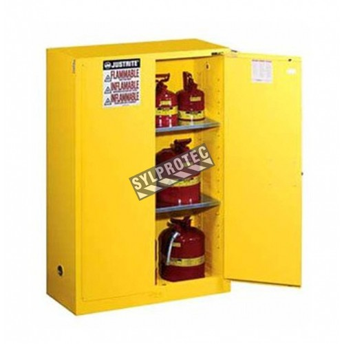 Flammable liquids storage cabinet, 45 US gallons (171 L), FM, NFPA and OSHA-approved.