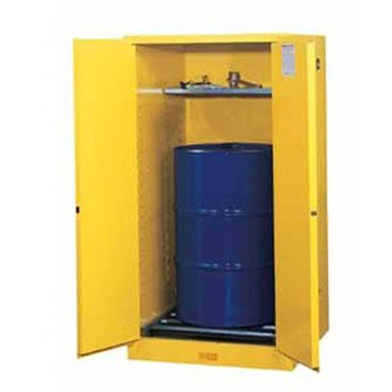 Justrite vertical storage cabinet for drums of us