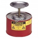 Steel solvent dispenser, 1 liter, FM, UL, OHSA approved, made by Justrite.