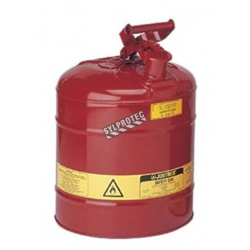 Steel flammable liquids container, type 1, 2.5 gallons, approved FM, UL, OHSA.